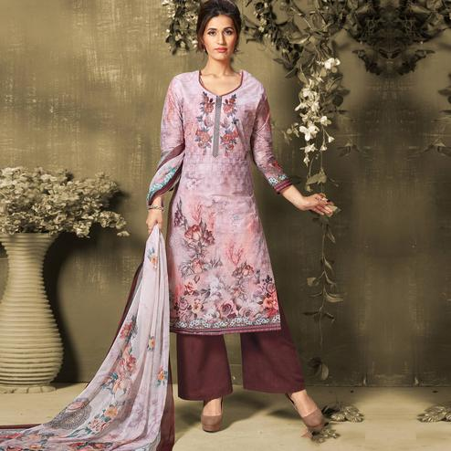 Exotic Light Purple Colored Casual Wear Digital Printed Cotton Salwar Suit