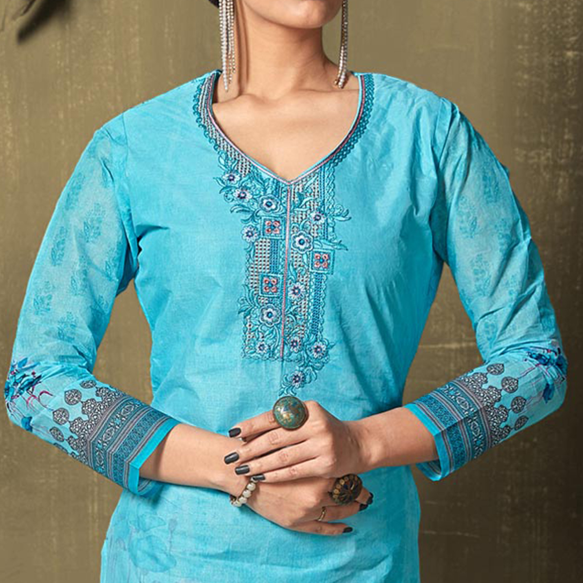 Majesty Blue Colored Casual Wear Digital Printed Cotton Salwar Suit