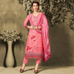 Preferable Pink Colored Casual Wear Digital Printed Cotton Salwar Suit