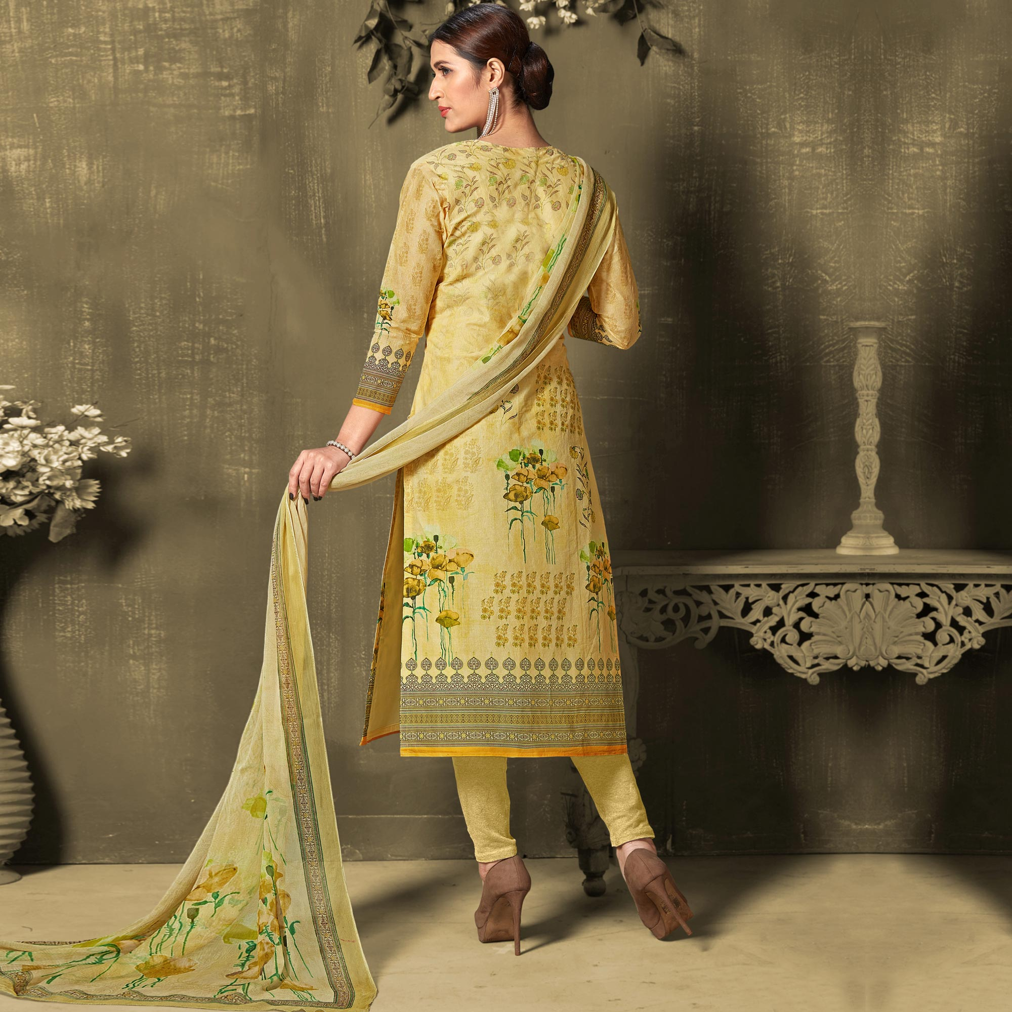 Attractive Light Yellow Colored Casual Wear Digital Printed Cotton Salwar Suit