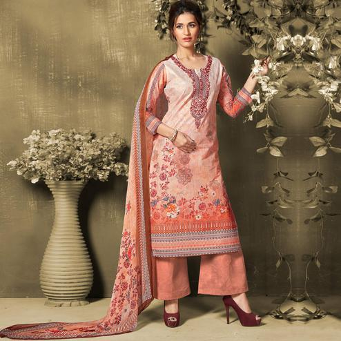 Beautiful Peach Colored Casual Wear Digital Printed Cotton Salwar Suit