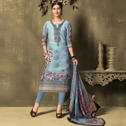 Gorgeous Sky Blue Colored Casual Wear Digital Printed Cotton Salwar Suit