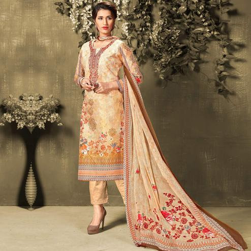 Classy Beige Colored Casual Wear Digital Printed Cotton Salwar Suit
