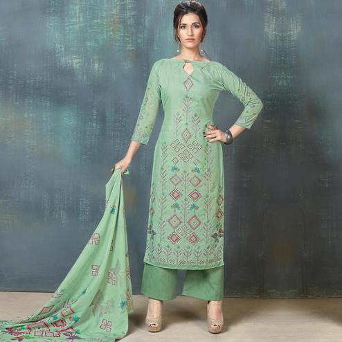 Glorious Light Turquoise Green Colored Casual Wear Digital Printed Cotton Salwar Suit