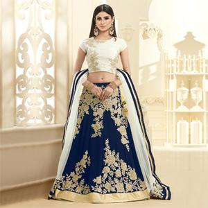 Blue Heavy Embroidered Lehenga Choli