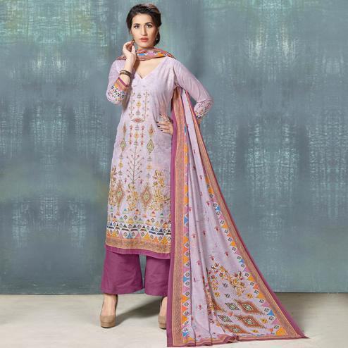 Lovely Light Purple Colored Casual Wear Digital Printed Cotton Salwar Suit