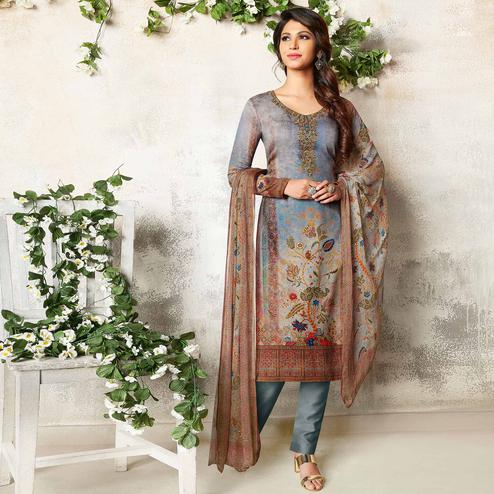 Demanding Grey Colored Party Wear Printed Soft Cotton Suit