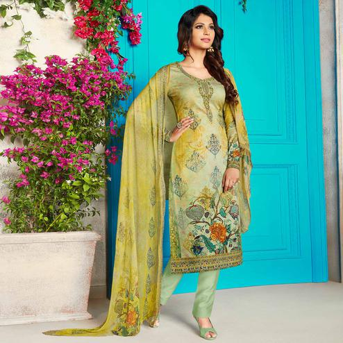 Pleasant Light Green Colored Party Wear Printed Soft Cotton Suit