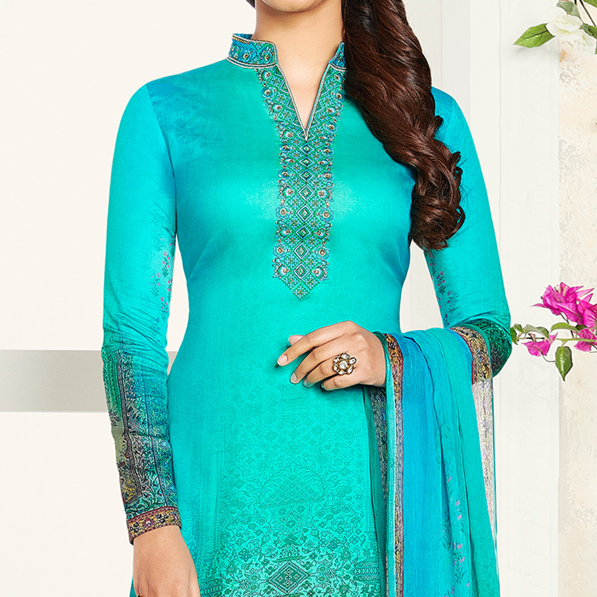 Unique Turquoise Blue Colored Party Wear Printed Soft Cotton Suit