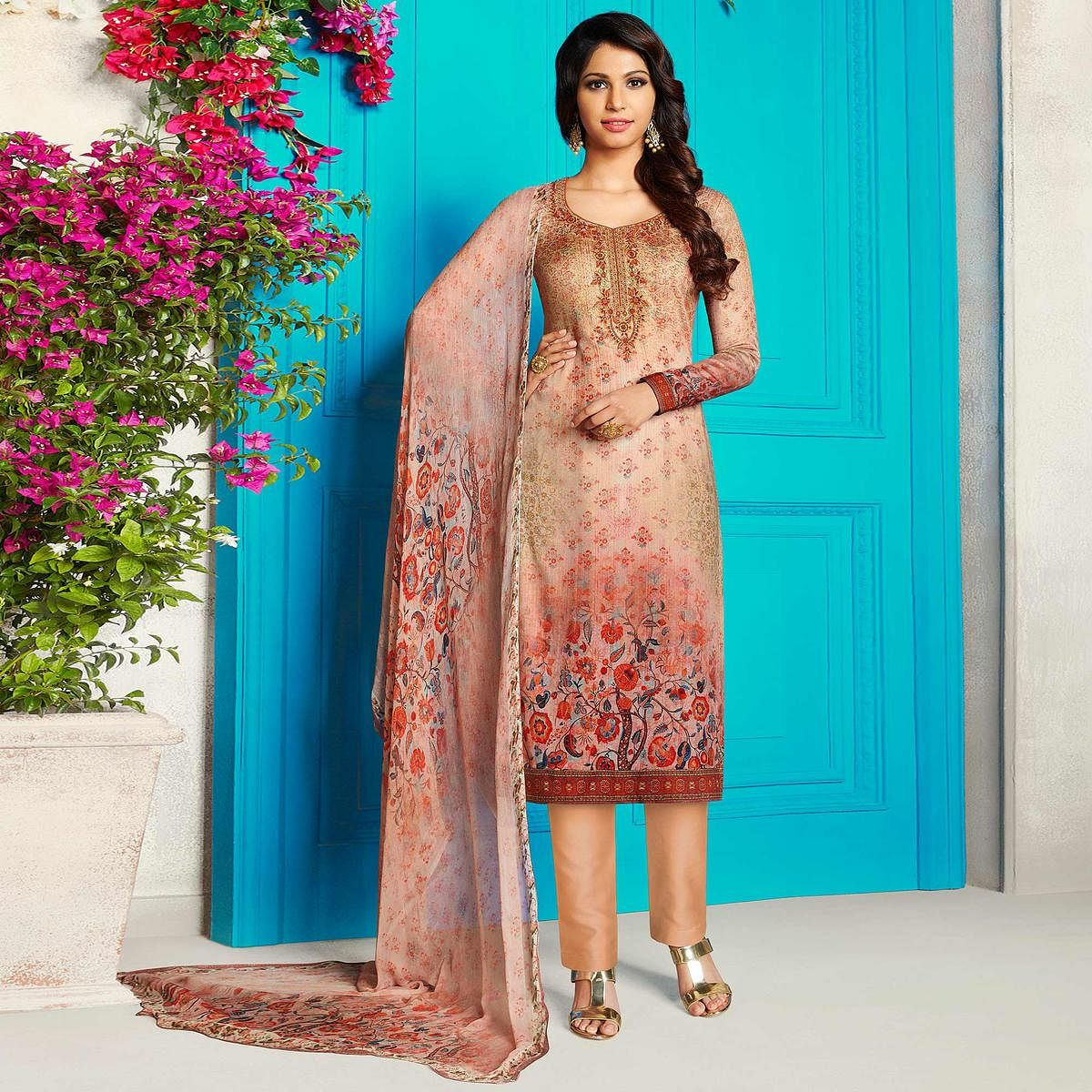 Refreshing Beige Colored Party Wear Printed Soft Cotton Suit