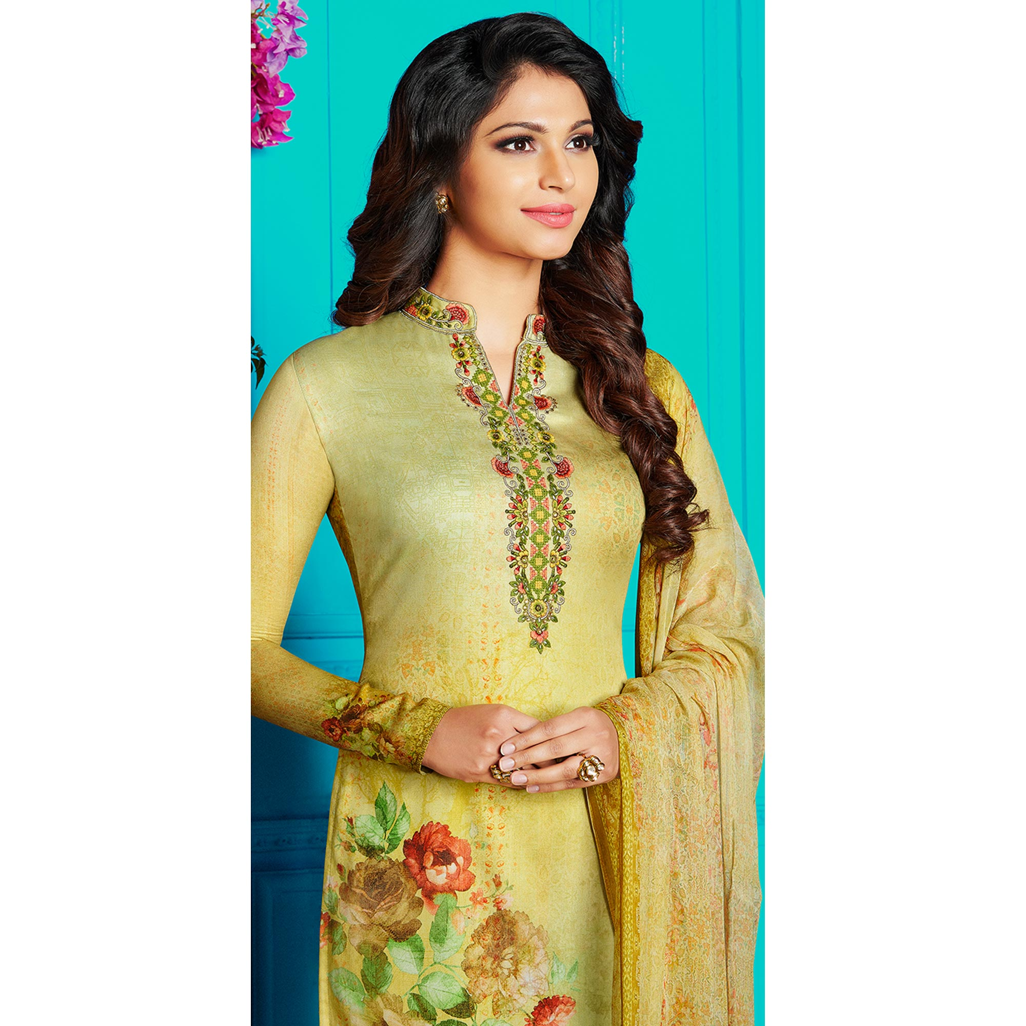 Elegant Light Green Colored Party Wear Printed Soft Cotton Suit