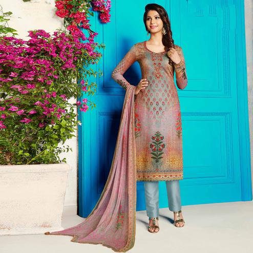 Alluring Multicolored Party Wear Printed Soft Cotton Suit