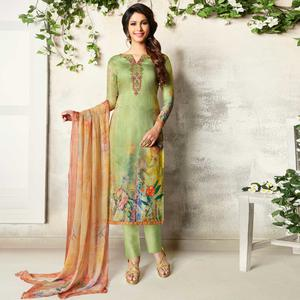Radiant Light Green Colored Party Wear Printed Soft Cotton Suit
