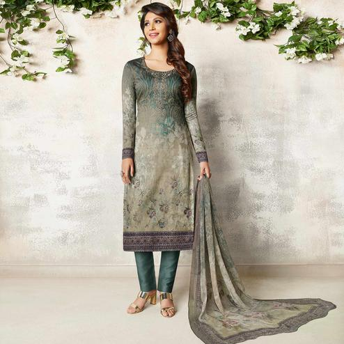 Sensational Grey Colored Party Wear Printed Soft Cotton Suit