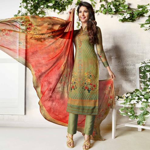 Opulent Green Colored Party Wear Printed Soft Cotton Suit