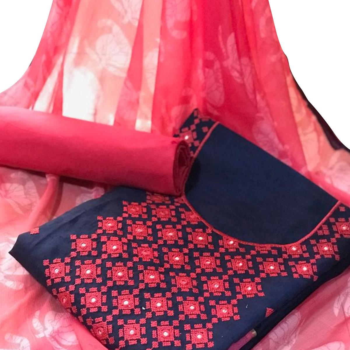Adorning Navy Blue - Pink Colored Casual Wear Embroidered Cotton Salwar Suit