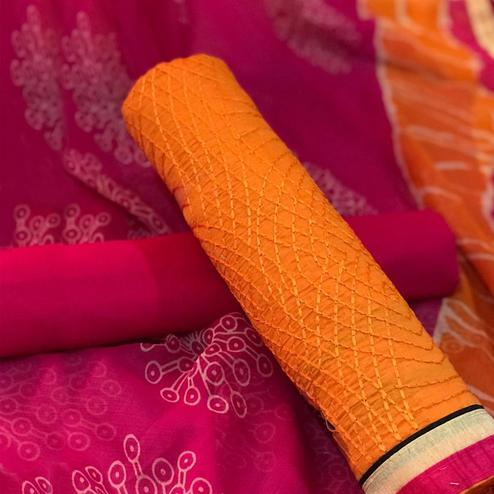 Captivating Yellow - Pink Colored Party Wear Embroidered Chanderi silk Salwar Suit