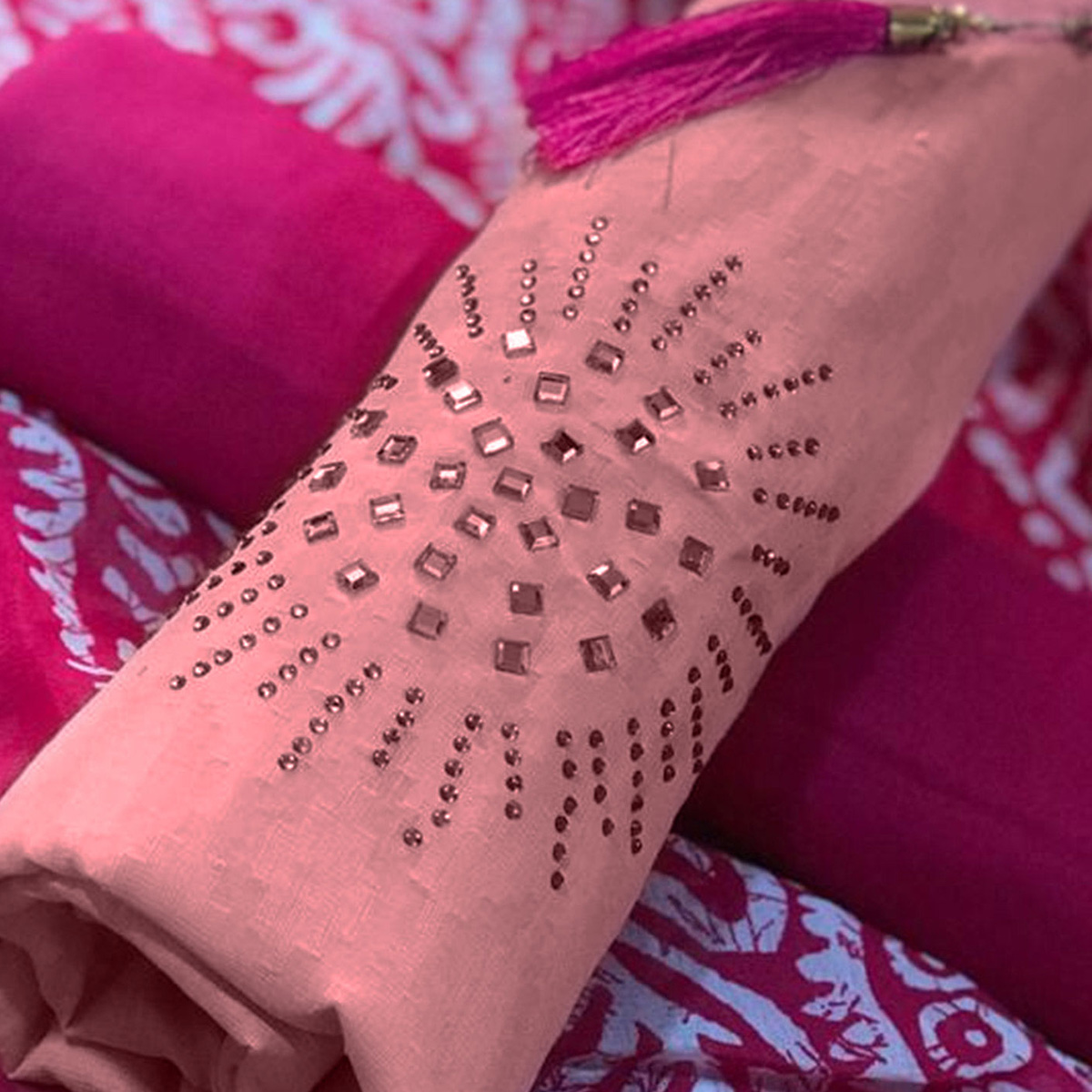 Glowing Soft Pink - Pink Colored Party Wear Embroidered Cotton Salwar Suit