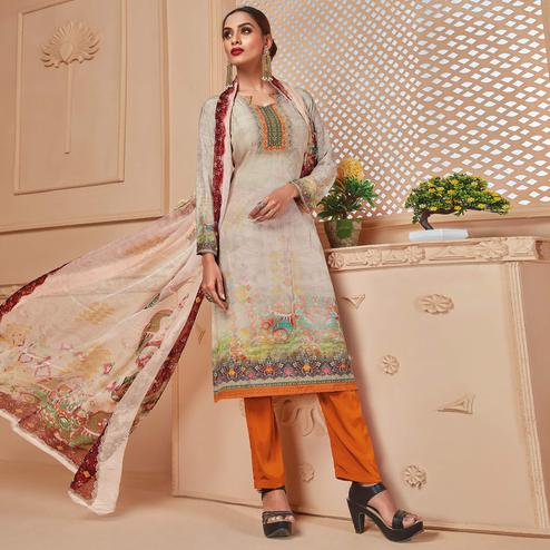 Adorable Beige Colored Casual Wear Digital Printed Crepe Salwar Suit