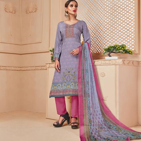 Attractive Purple Colored Casual Wear Digital Printed Crepe Salwar Suit
