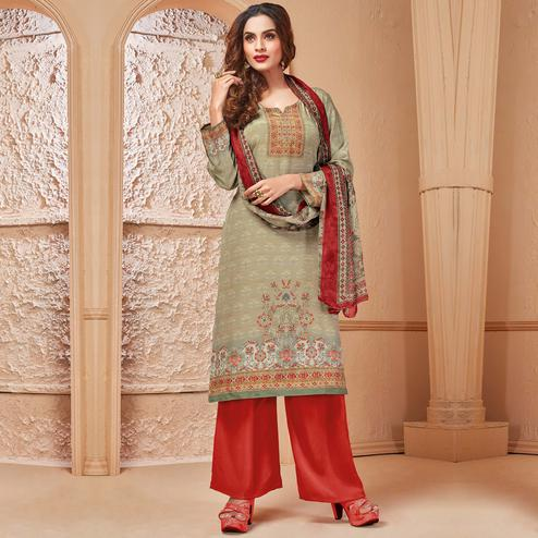 Beautiful Light Olive Green Colored Casual Wear Digital Printed Crepe Salwar Suit