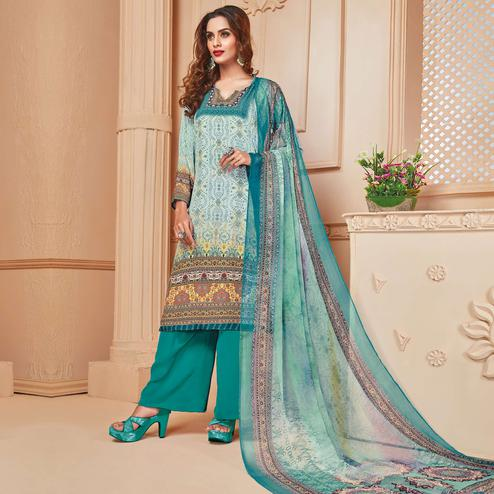 Gorgeous Aqua Blue Colored Casual Wear Digital Printed Crepe Salwar Suit