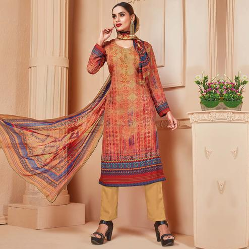 Classy Light Orange Colored Casual Wear Digital Printed Crepe Salwar Suit