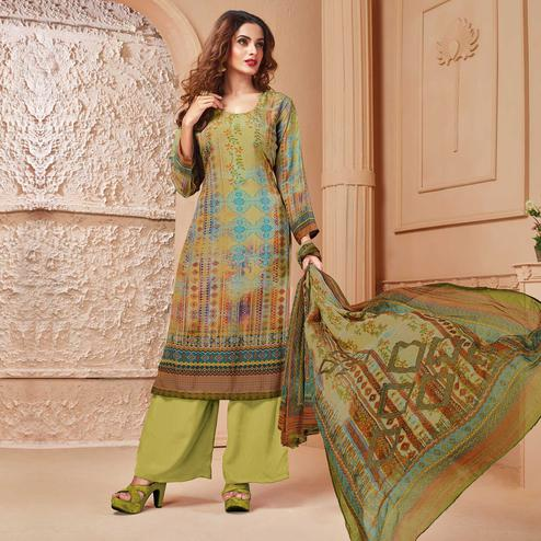 Glorious Olive Green Colored Casual Wear Digital Printed Crepe Salwar Suit