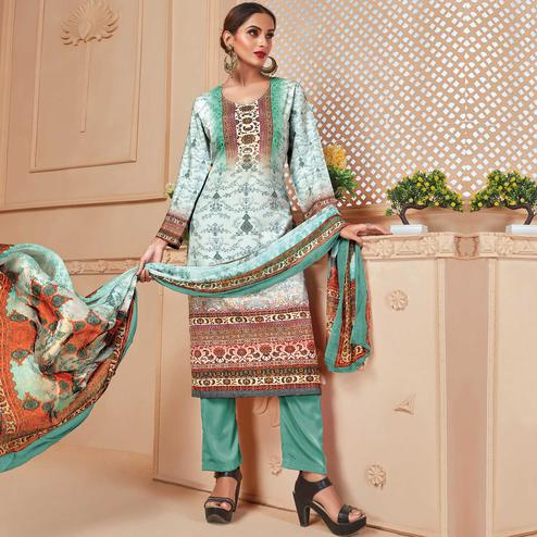 Graceful White - Aqua Green Colored Casual Wear Digital Printed Crepe Salwar Suit