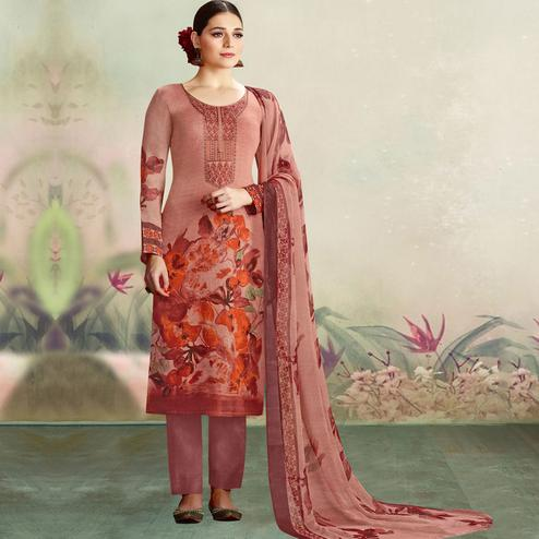 Adorable Mauve Colored Casual Wear Printed Cotton Salwar Suit