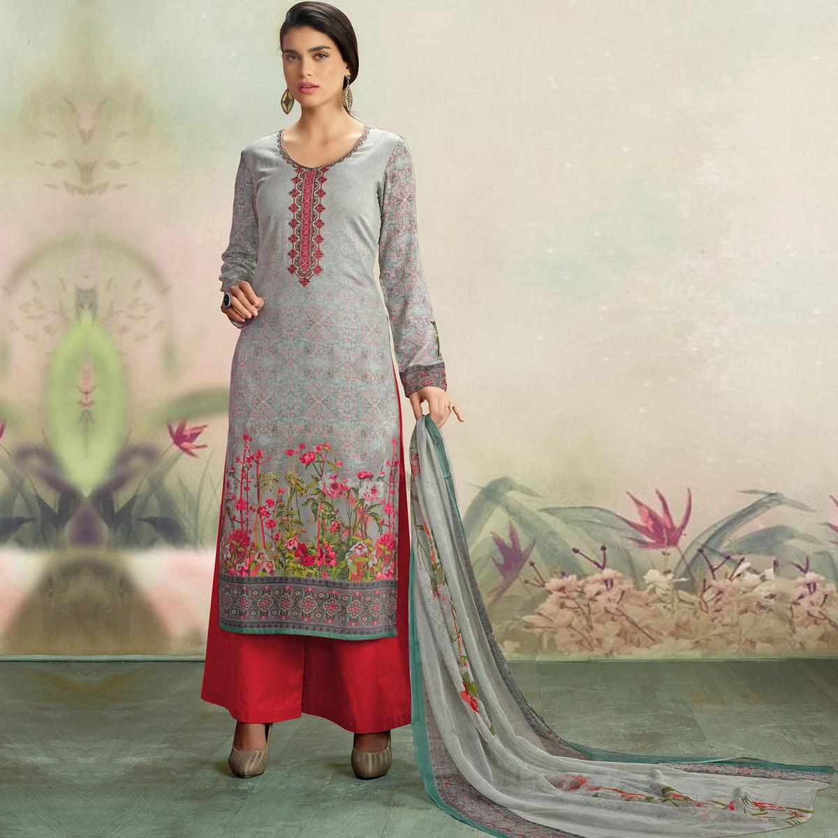 Intricate Grey Colored Casual Wear Printed Cotton Salwar Suit