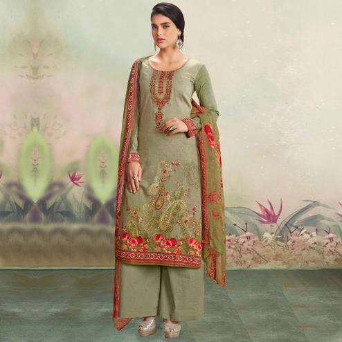 Desirable Olive Green Colored Casual Wear Printed Cotton Salwar Suit