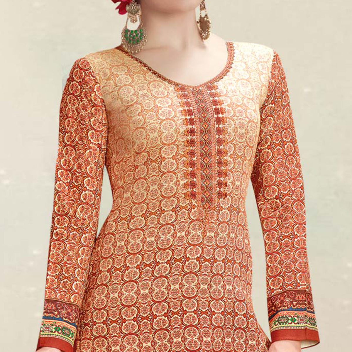 Sophisticated Light Orange Colored Casual Wear Printed Cotton Salwar Suit