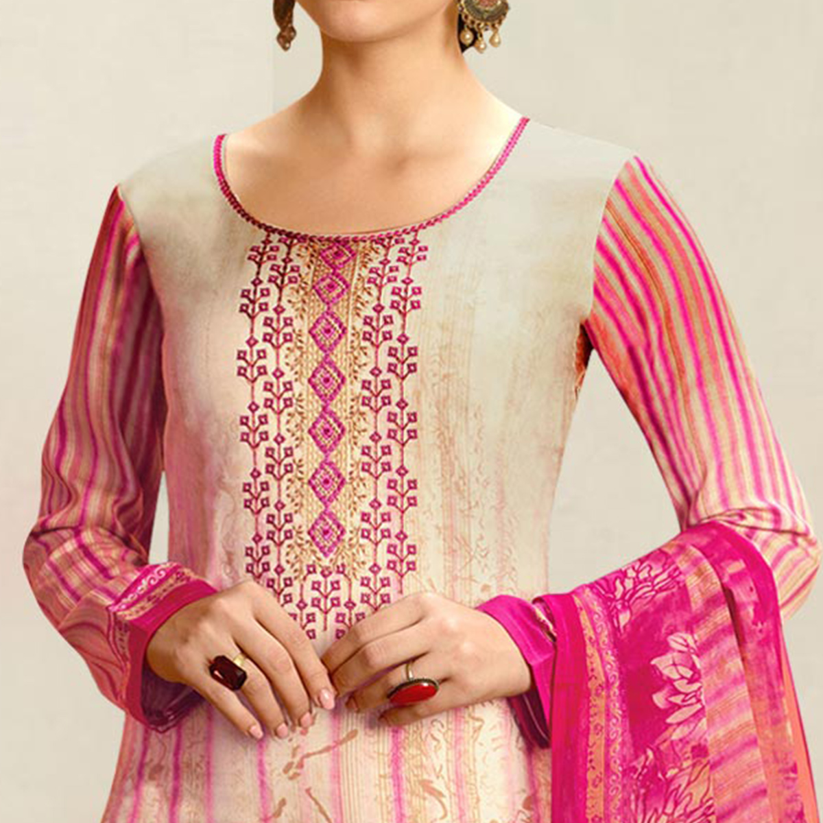 Pleasant Cream - Pink Colored Casual Wear Printed Cotton Salwar Suit