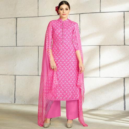 Intricate Pink Colored Casual Wear Printed Cotton Salwar Suit