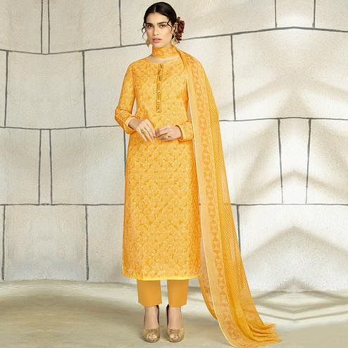 Desirable Yellow Colored Casual Wear Printed Cotton Salwar Suit