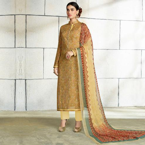 Sophisticated Golden Colored Casual Wear Printed Cotton Salwar Suit