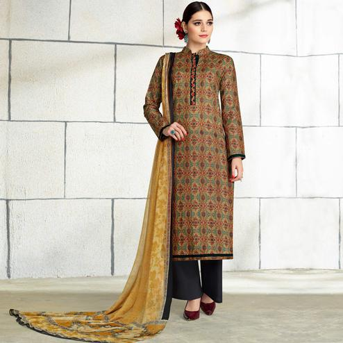 Pleasant Multi Colored Casual Wear Printed Cotton Salwar Suit