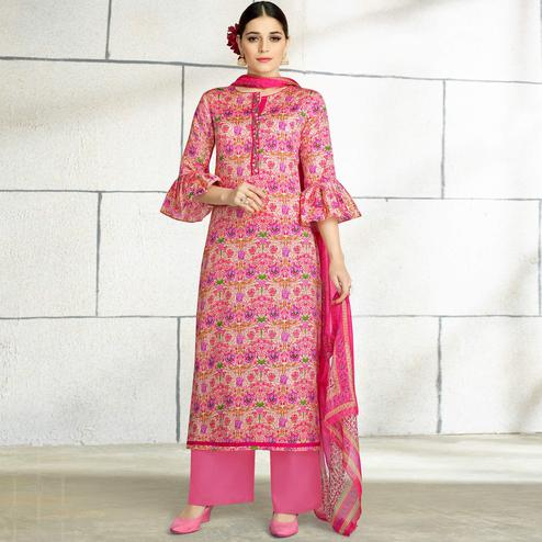 Unique Pink Colored Casual Wear Printed Cotton Salwar Suit