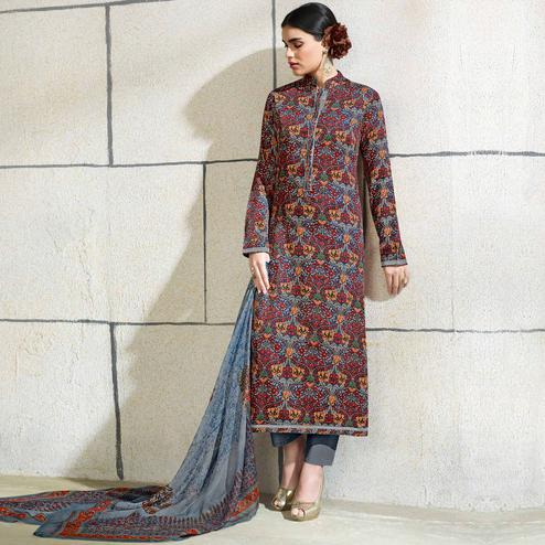 Refreshing Multi Colored Casual Wear Printed Cotton Salwar Suit