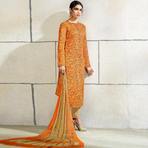 Elegant Orange Colored Casual Wear Printed Cotton Salwar Suit