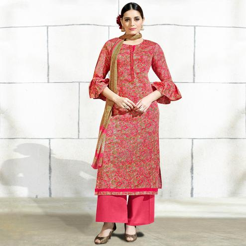 Radiant Pink Colored Casual Wear Printed Cotton Salwar Suit
