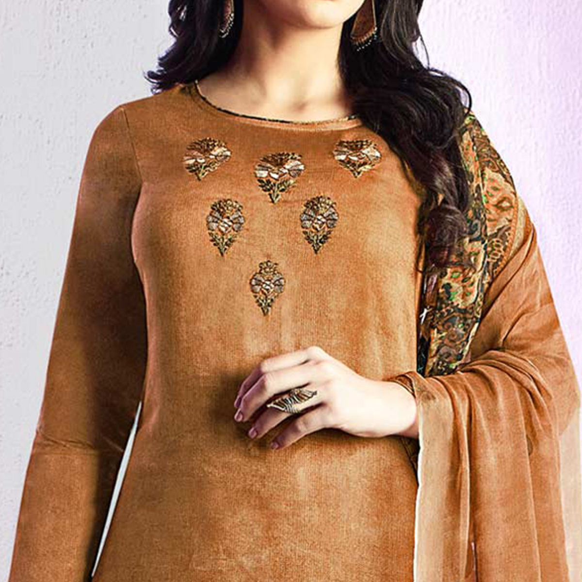 Jazzy Beige Colored Casual Wear Printed Cotton Salwar Suit