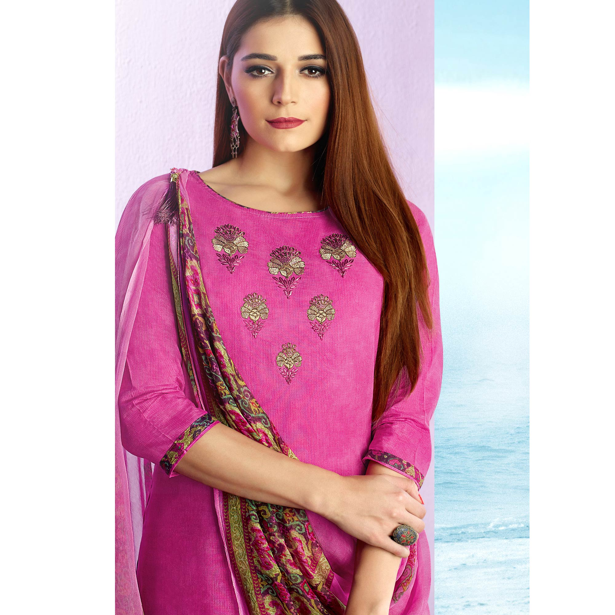 Appealing Pink Colored Casual Wear Printed Cotton Salwar Suit