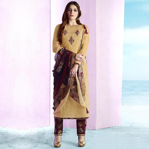 Capricious Beige Colored Casual Wear Printed Cotton Salwar Suit