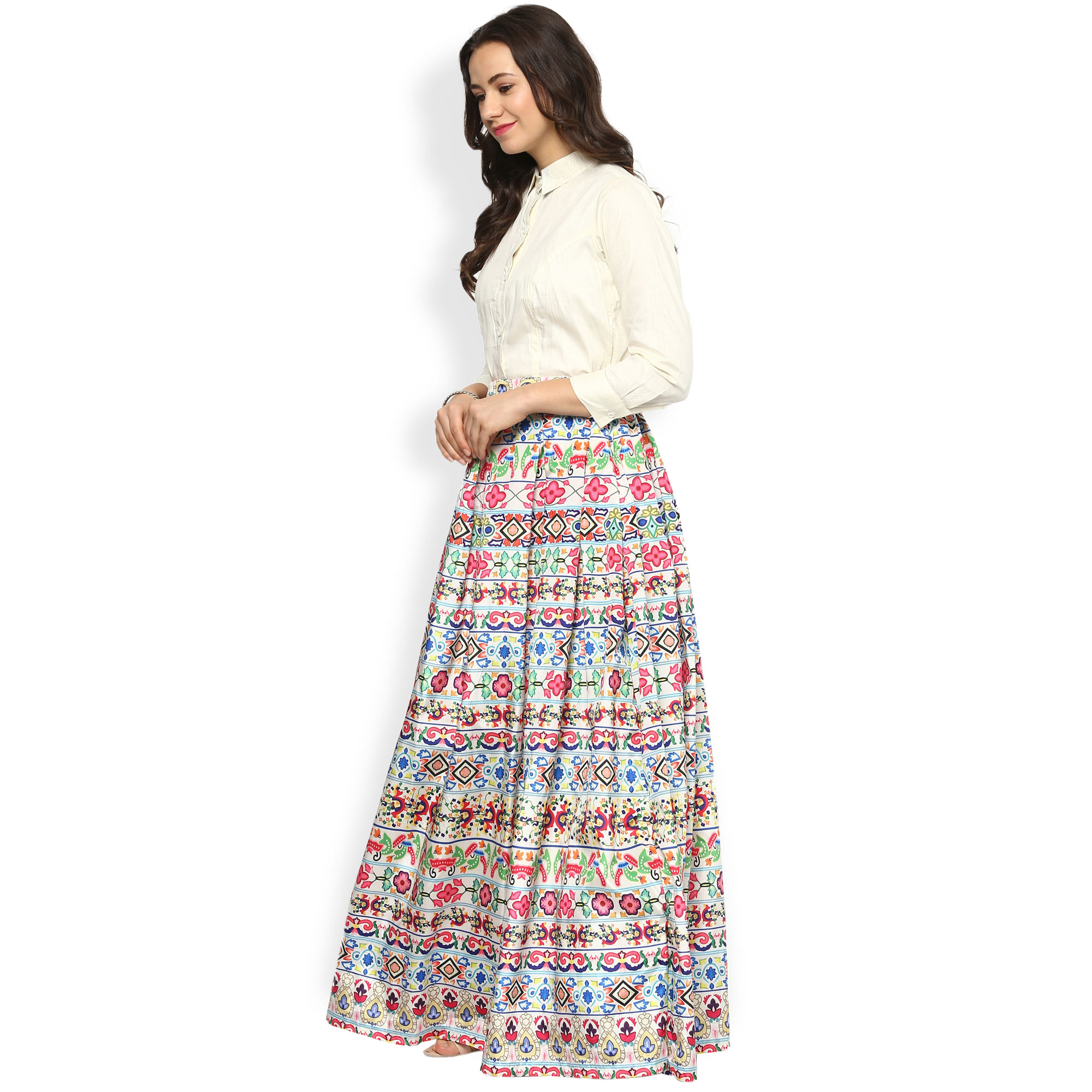 5242cd2430 Buy White Shirt with Multicolored Lehenga online India, Best Prices ...