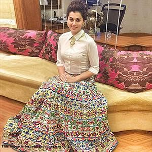 White Shirt with Multicolored Lehenga