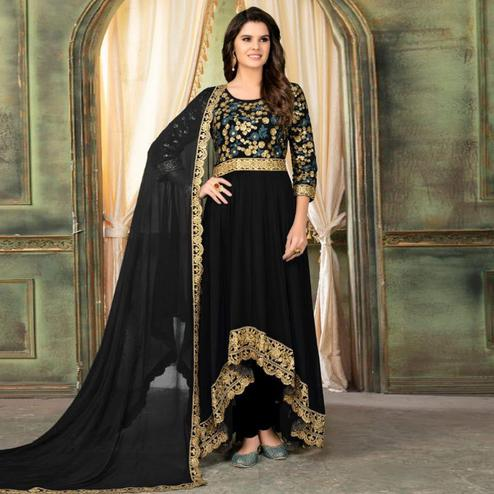 Classy Black Colored Partywear Embroidered Faux Georgette Anarkali Suit