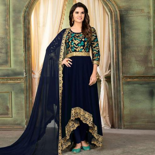 Appealing Navy Blue Colored Partywear Embroidered Faux Georgette Anarkali Suit