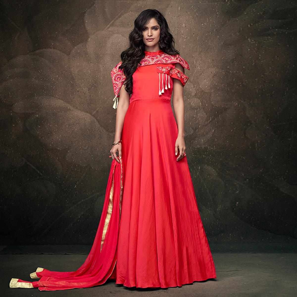 Sensational Crimson Red Colored Party Wear Embroidered Tapeta Silk Gown